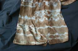 Tie-dyed with elastic, once through the dyepot