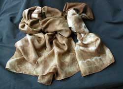 Scarves dyed with Dyer's Polypore